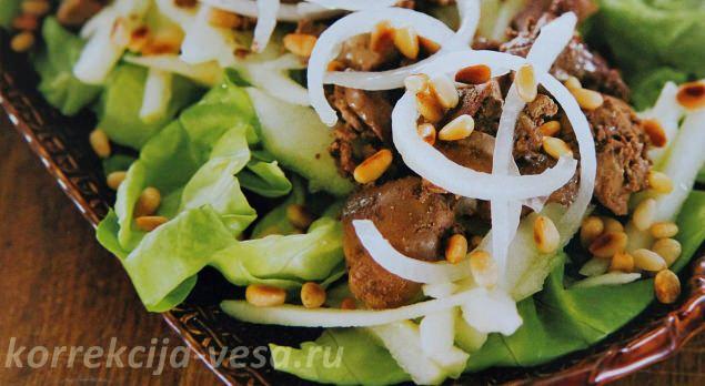 Салат с куриной печёнкой