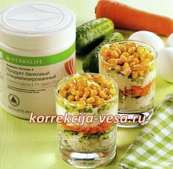 Низкокалорийный салат Мимоза