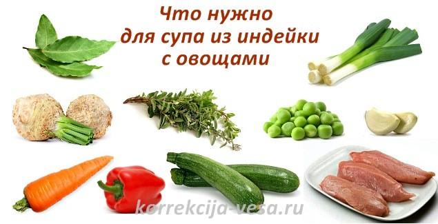 Что нужно для супа из индейки с овощами