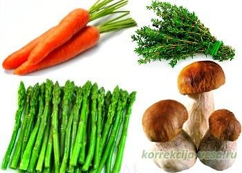 Продукты для супа из спаржи